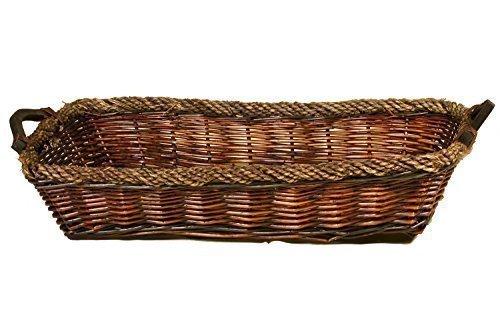 Borras Hnos - Bandeja mimbre nogal borde cuerda. (Color: Marrón Tamaño: 70x50x15)