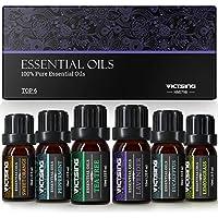VicTsing 6*10ml Aceites Esenciales para Difusor,100% Puro Natural Set de Regalo de Perfume de Aceites,-Naranja Dulce, Lavanda, Arbol de Té, Hierba de Limón, Eucalipto y Menta,etc.Incoloro
