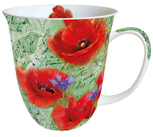 Ambiente Becher - Mug - Tasse - Tee/Kaffee Becher ca. 0,4L Floral Painted Poppies Green