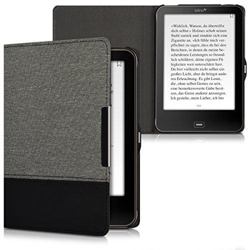kwmobile Canvas Hülle für > Tolino Vision 1 / 2 / 3 / 4 HD < - Leinen E-Book Case Cover Tasche Schutzhülle in Grau Schwarz