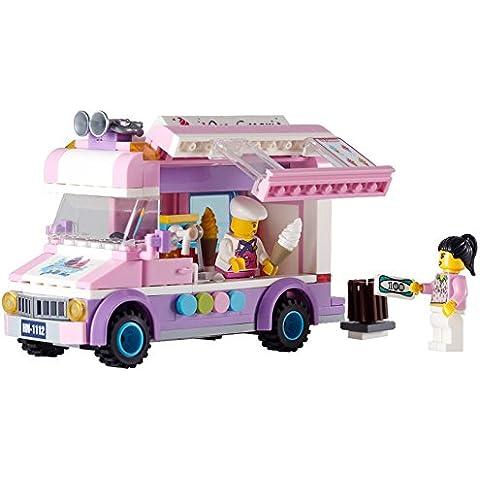 Assemblaggio di automobili Building Blocks Mattoni gelato camion automatici van finge set i giocattoli del gioco, bambini giocattoli per le bambine di apprendimento educativo