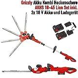 Grizzly Akku Kombi Heckenschere AKHS 18 Set, 2 Heckenscheren zu 1 Preis, 2x 18 V Akku, 45 cm...