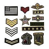 13Teile Stickerei Armee Schultergurte Sergeant Streifen nähen Eisen auf Patch-Epauletten Badge Tasche hat Jeans-Applikation DIY