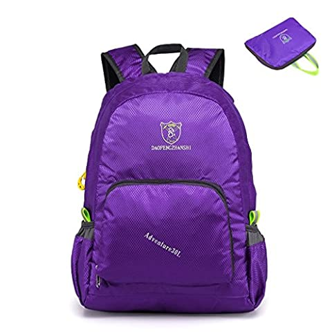 Gigantique 20L Outdoor Hiking Waterproof Portable Folding Backpack Handy Lightweight Travel Daypack Purple