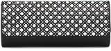 VINCENT PEREZ Clutch, Umhängetasche, Unterarmtasche aus Kunstleder und Perlen/Straßstein Dekartion mit abnehmbarere Kette (120 cm), Farbe:Schwarz