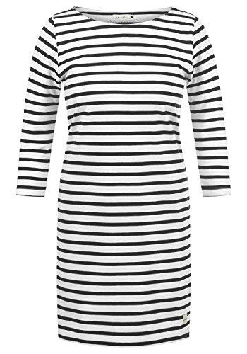 Blend She Eni Damen Sweatkleid Sommerkleid Kleid Mit Streifen-Optik Und U-Boot-Kragen Aus 100% Baumwolle, Größe:XS, Farbe:Black (20100)