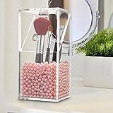 Portaescobillas, LuckyFine pincel de maquillaje de acrílico herramientas de belleza cilindro barril barriles de almacenamiento Juego de cepillos Caja de almacenamiento de cosméticos no pearl