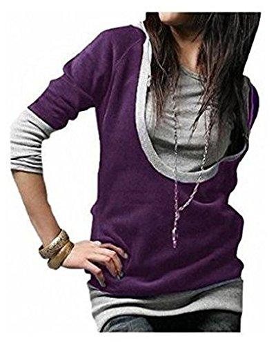 Longue chemise 5 couleurs de dames veste pull Sweat à capuche Veste à capuche Tunique shirt 2312 PurpleGrey