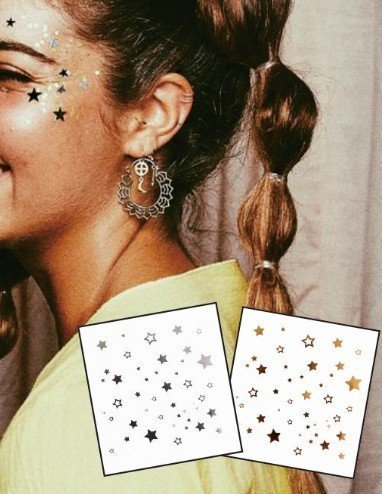 Aufkleber Temporäre Tattoos 2er Packung f10 Gold & SILBER für Gesicht Glitter MAKE-UP Effekt für Party Festival Shows und Bühne-Auftritte (Augen Make Up Temporäre Tattoos)