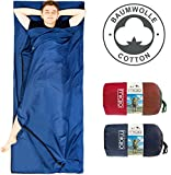 MIQIO 2in1 Cotton Sleeping Bag Liner and Lightweight XL Size Double Travel Bed