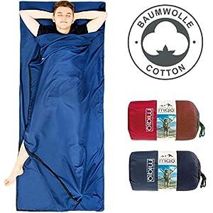 MIQIO® 2in1 Baumwoll Hüttenschlafsack mit durchgängigem Reißverschluss (Koppelbar): Leichter Komfort Reiseschlafsack und XL Reisedecke in Einem – Sommer Schlafsack Innenschlafsack Inlett Inlay