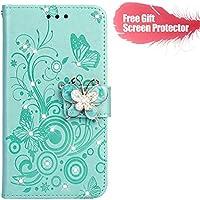 Fatcatparadise Funda para Xiaomi Redmi 5 [con Protector Pantalla], Carcasa con Tapa Flip Case Antigolpes Parachoques Golpes Cartera Billetera PU Cuero Suave Case Cover (Verde)