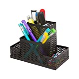 #6: Absales Black Cube Metal Stand Mesh Style Pen Pencil Ruler Holder Desk Organizer Storage