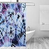 CPYang Indien Tie Dye Abstrakt Polyester-Swirl-Vorhänge Dusche Wasserdicht und Schimmel Beständig Bad Vorhang für Badezimmer Dekoration mit 12Vorhang Haken 182,9x 182,9cm