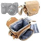 Etui avec bandoulière pour appareil photo Samsung WB36F, Sigma dp1 Quattro et Sony A6000 / A3000 - style vintage couleur sable - DURAGADGET