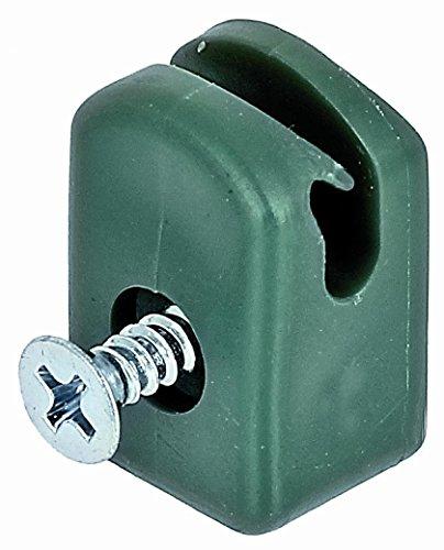30 st Bohrschrauben gruen Kunststoff Spanndrahthalter mit Schraube PVC mit V2A Spange inkl
