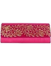 Mela Golden Embroidered, Exclusive Partywear, Designer Clutch-Magenta