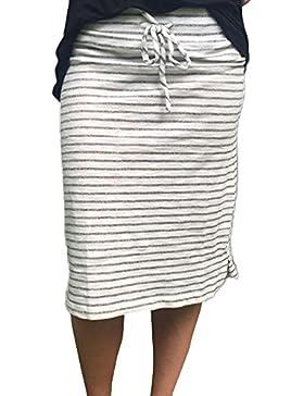 A-LíNea Falda,Gusspower Mujer Falda Corta a Rayas Elástica Elegante Alta Cinturilla Pantalones Cortos Verano Primavera