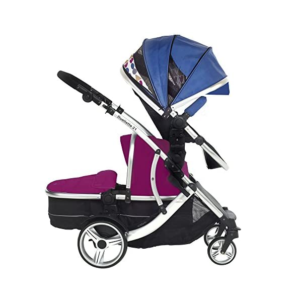 Kids Kargo Duellette 21 BS Combi Tandem Double Twin pushchair NEW COLOUR RANGE! (Raspberry carrycot - newborn/Blueberry seat - toddler 6mth +) Kids Kargo Ideal for newborn baby girl and and older son (6mth+) Various seat positions. Accommodates 1 or 2 car seats Carrycot (raspberry) converts to seat unit incl mattress. Toddler seat (blueberry) from 6 months 2