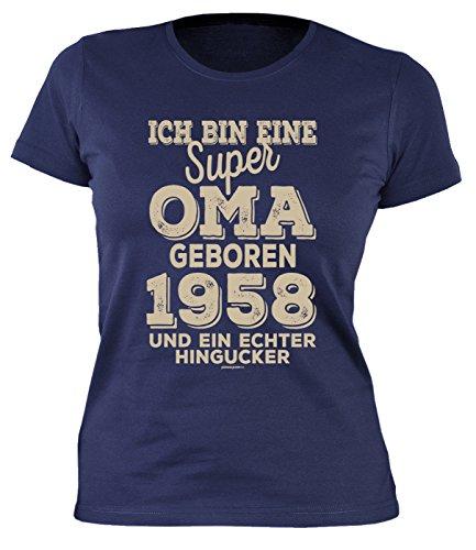 Oma Damen T-Shirt 60 Geburtstag Frauen - Geburtstagshirt Frau 60 Jahre - Jahrgang 1958 : .Super Oma Geboren 1958 - Geschenk-Idee 60.Geburtstag Damenshirt Gr: XL