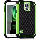 kwmobile Hülle für Samsung Galaxy S5 / S5 Neo / S5 LTE+ / S5 Duos - Hybridhülle Dual Case Handy Schutzhülle TPU Silikon - Hybrid Cover Grün Schwarz