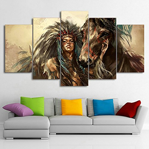 LwqArt HD Print 5 Stück Native American Mädchen und Pferd Kunst Leinwand Wand Kunst Malerei moderne Home Decor Wand Kunstdruck Malerei, extra groß, gerahmt(60