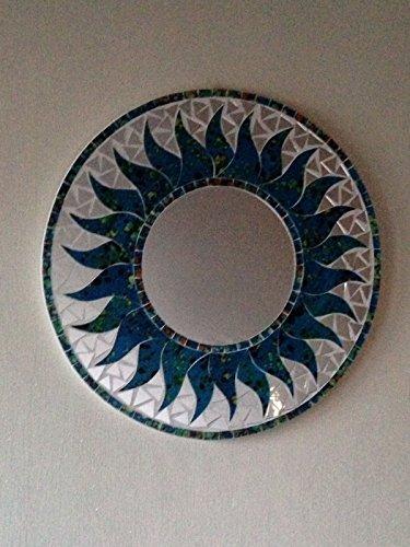 Beautiful Sun Shaped, Glass Mosaic, Mirrors. Choice Of Colours. Fair Trade (Blue)