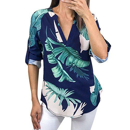 (Oliviavan,Frauen Damen Blumendruck Halbe Hülse T-Shirt unregelmäßige Tops Bluse Bluse Mode Damenmode Tops Shirt Damen Chiffon Langarm Casual Pullover T-Shirts Mantel Damen Kleider Jacke büro Outfit)