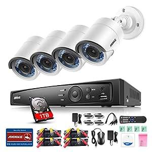 ANNKE 4CH 1080P HD-TVI H.264+ DVR 4 Caméras 2.0MP Jour/Nuit Intérieur Extérieur Système de Vidéosurveillance Caméra de Surveillance Détection de mouvement Avec Disque Dur de 1TB