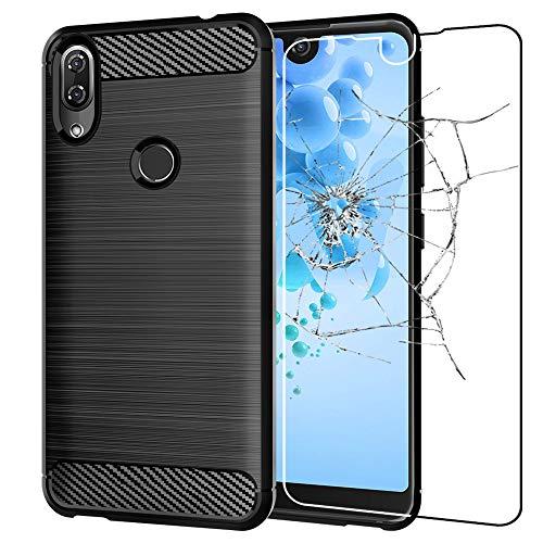 ebestStar - Wiko View 2 Hülle Kohlenstoff Design Schutzhülle, TPU Handyhülle Flex Silikon Case, Schwarz + Panzerglas Schutzfolie [Hinweis Lesen Sie die Beschreibung] [Phone: 154.5 x 72 x 8.3mm 6.0'']