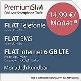 PremiumSIM LTE L Allnet Flat [SIM, Micro-SIM und Nano-SIM] monatlich kündbar (FLAT Internet 6 GB LTE mit max. 50 MBit/s mit deaktivierbarer Datenautomatik, FLAT Telefonie, FLAT SMS und FLAT EU-Ausland, 14,99 Euro/Monat)