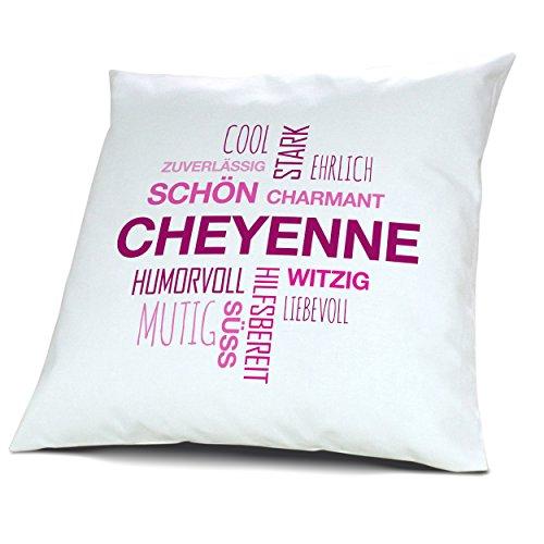 Cheyenne Bettwäsche (Kopfkissen mit Namen Cheyenne - Motiv Positive Eigenschaften Tagcloud Pink, 40 cm, 100% Baumwolle, Kuschelkissen, Liebeskissen, Namenskissen, Geschenkidee)