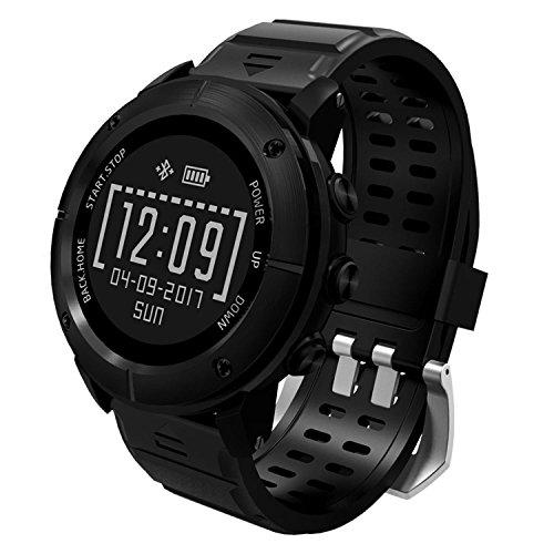 UWear Multi-Sport Smart Uhren Wasserdicht GPS Wandern & Trail Running Sport Uhr mit Herzfrequenzmesser / SOS / Kompass / Wetter / Barometer / und Höhenmesser für Wanderer (Schwarz)