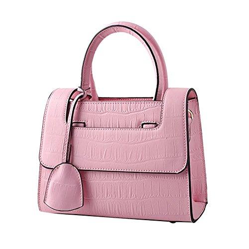 Mena UK Pelle sintetica femminile Alta capacità Barra morbida Soft color Grande borsa da viaggio e borsa a tracolla ( Colore : Rosa , dimensioni : 23.5cm*19cm*11cm ) Rosa
