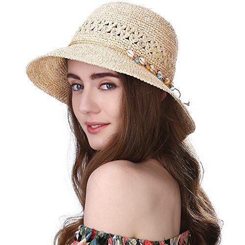 SIGGI Stroh faltbare beige Sonnenhüte mit Sonnen Shade Strand 100% Raffia Stroh breite Krempe Damen (Stroh-sonnenhut Frauen)