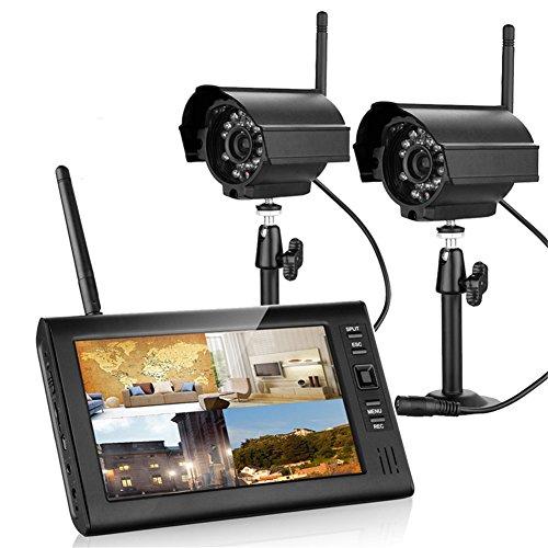 MOUNTAINONE 7 inch TFT Digital 2.4G Wireless Cameras Audio Video Baby Monitors 4CH Quad DVR Security System With IR night light two Cameras 51rrVtkukXL