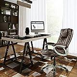 Chaise de bureau exécutive Aingoo grande et grande avec siège large et large, fonction d'inclinaison Chaise de bureau ergonomique en cuir PU avec accoudoirs, chaise pivotante extrêmement confortable, marron