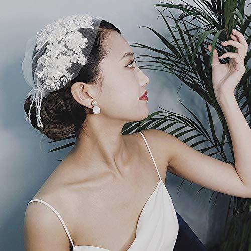 HEALUMS Vintage simulierte Perle Quaste Schleier Applique Hochzeit Braut Haar Hut Schiere Tüll Rouge Schleier handgemachte Kostüm Kopfbedeckungen Frauen Schleier Mesh Kopfbedeckungen Hut Bowler Hüte