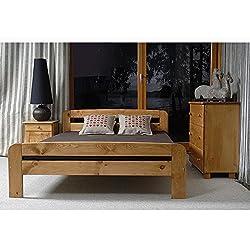 JUSThome Claudia Aliso Cama de madera maciza + Listones Color Aliso Tamaño 140 x 200 cm