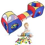 Cocoarm 3-Teiliges Spielzelt Kinderzelt, Kinder Zelt mit Krabbel Tunnel, Draußen Drinnen Spieltunnel Bällebad, Ideal für Zuhause & im Garten