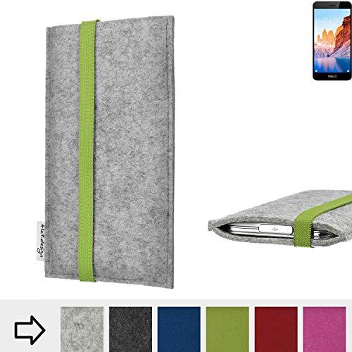 flat.design Handy Hülle Coimbra für TP-LINK Neffos C7A maßgefertigte Handytasche Filz Tasche fair grün hellgrau
