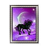 Kofun 5D-Diamantenstickerei/ Kristallgemälde mit romantischem Einhorn, Kunsthandwerk zum selber machen, Wand- und Raumdekoration, 30x 40cm