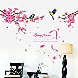 HomeLover Peach Blossom and Birds Pattern Wallpaper for Living Room Decoration
