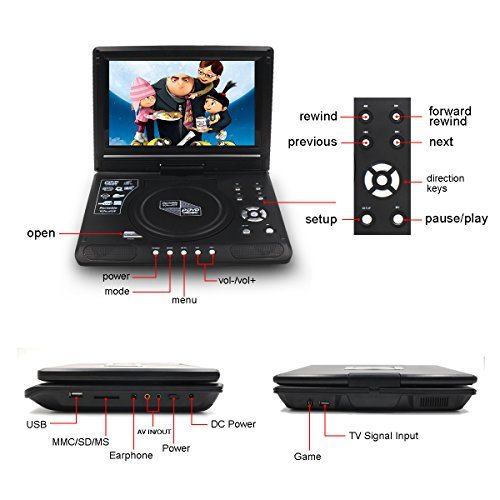 Upgraded 10 Zoll Tragbarer DVD-Player, Directtyteam Portabler DVD-Player Portable DVD Player CD Player, Swivel Angle Adjustable Display Screen, with Rechargeable Battery, Unterstützt SD-Karte und USB (Schwarz) - 3