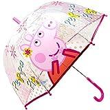 Paraguas Cúpula Transparente Manual Paraguas Niña Infantil Paraguas Peppa Pig 68cm (Magenta)