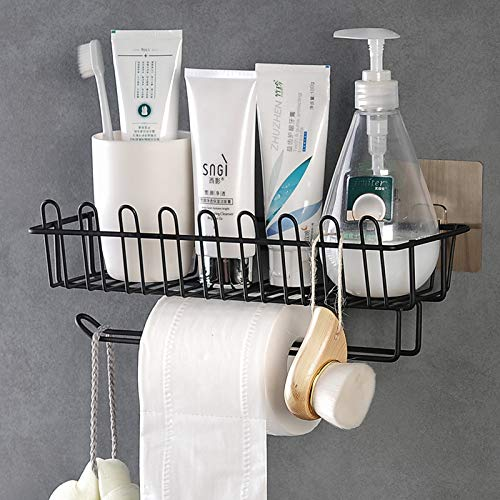 Getko With Device Wall Mounted Hanging Storage Holder with Towel Rack, Kitchen Wall Spice Rack Stand Stainless Steel Shower Caddy for Bathroom (Black)