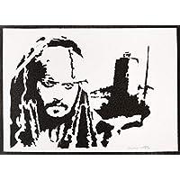 Poster Jack Sparrow Piratas del Caribe Grafiti Hecho a Mano - Handmade Street Art - Artwork