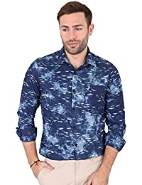 [Sponsored]SKY WATER Men's Blue And White Colour Graphic Print Full Sleeve Casual Shirt