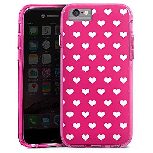 Apple iPhone 6 Bumper Hülle Bumper Case Glitzer Hülle Polka Herz Pink White Bumper Case transparent pink
