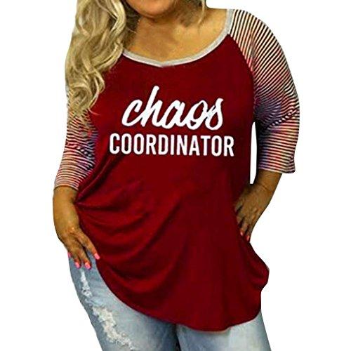 Manadlian Damen ModeBrief Drucken Streifen Übergröße Gesegnet O-Ausschnitt Baseball Rot T-Shirt (L - 4XL) (Rot, L) (Jersey Drucken Camouflage)